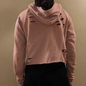 Pink Distressed Cropped Sweatshirt